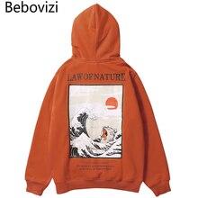 Bebovizi Hip Hop Chinese Style Hoodie Japanese Streetwear Waves Cat Print Pullover Hoodies Orange Sweatshirts Men Winter