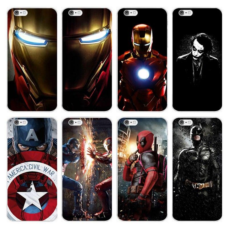 b1d4ebb48c Marvel Superman Iron Man Batman DC Comics Soft Silicone TPU Case Cover For iPhone  6 6S 7 8 Plus 5S SE X Xs Max Xr Capinha Coque
