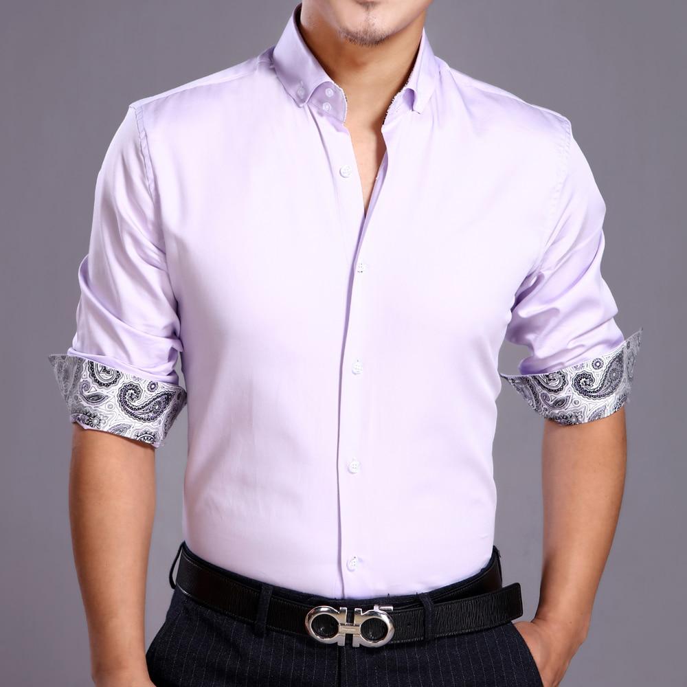 J.Del'or New Arrival Men Cotton Fancy/Calssical Dress Shirt Light Lilac Long Sleeve Slim Fitting High Quality Euro.Design