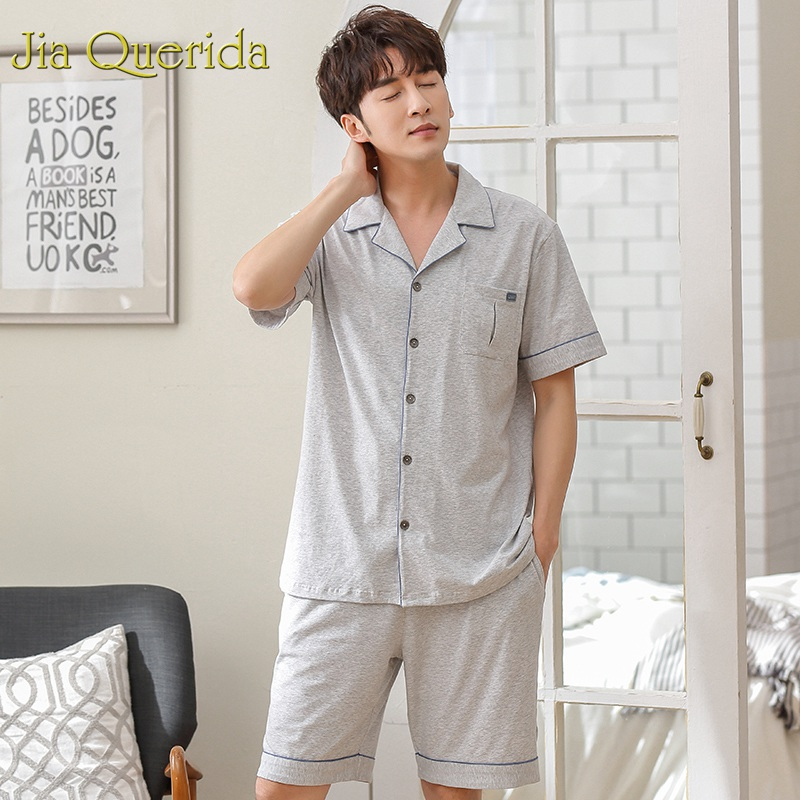 Underwear & Sleepwears 100% Quality J&q Pajamas Men 2019 Summer Shorts Men Leisure Suits 100% Cotton Pyjamas Lapel Cardigan Short Sleeves Pants 2pcs Home Clothing In Many Styles