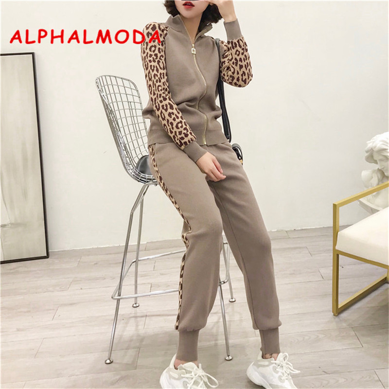 ALPHALMODA Imprimé Léopard Manches Zipper Knit Cardigans + Crayon Pantalon Femmes De Mode À La Mode Survêtements Slim Veste Pantalon Ensembles