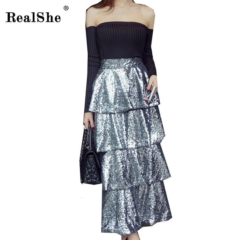 RealShe High Waist Sequins Women Skirt Fashion Empire Ruffles Long Summer Skirts Womens Black Beach Party Sexy Skirt Woman