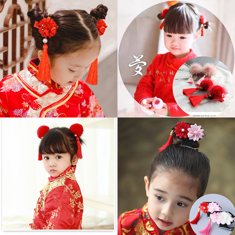 1pair Headdress Children Hair Ball Fringed Hair Ornaments Chinese Style Girls Baby Clips Hair Barrette Card Hairpins Accessories in Hair Accessories from Mother Kids