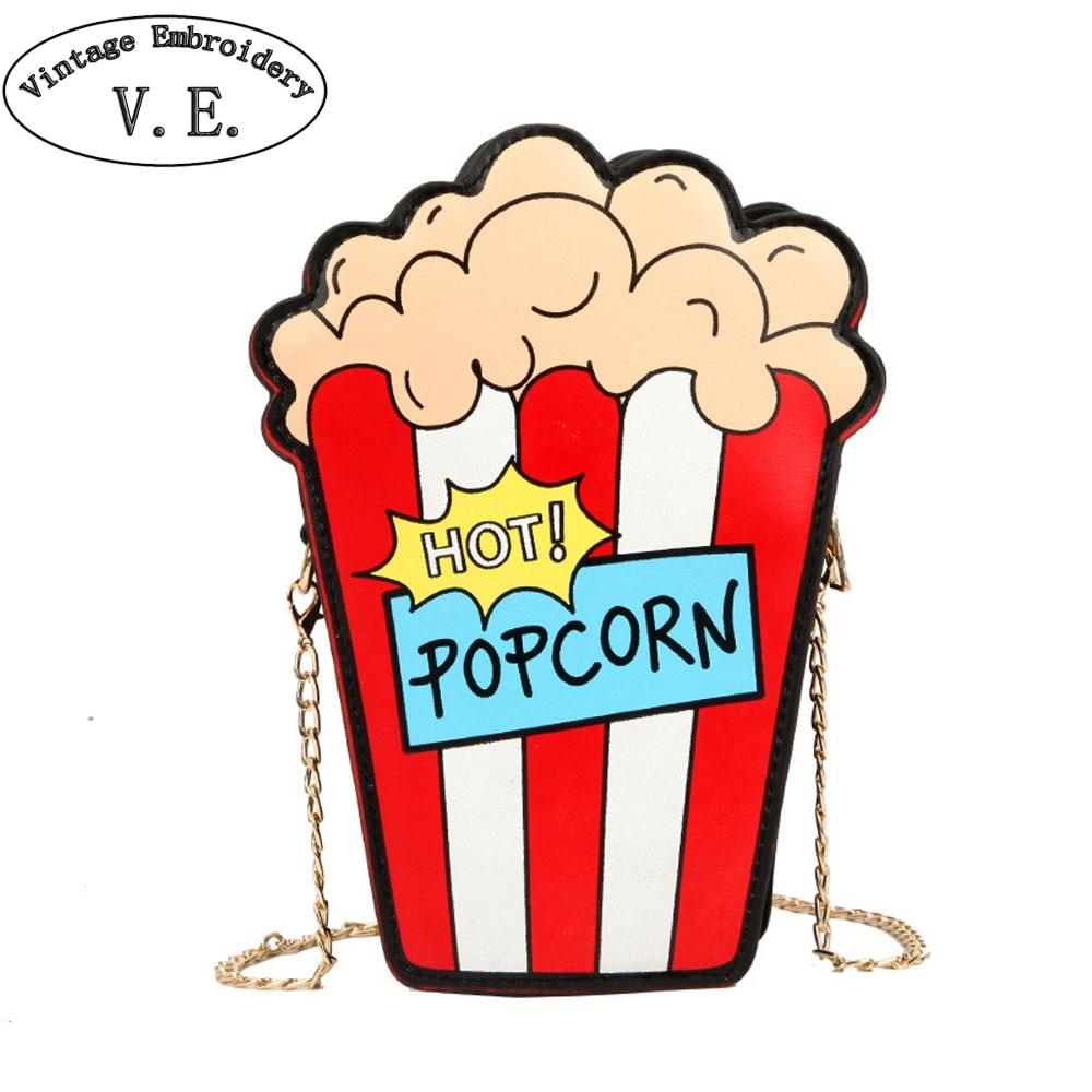 Spalla Stampa Modo il Personalità Messaggero Catena Borse Disegno Beige Di Telefono Del Fumetto Sveglia Nero Popcorn rosso Monete Sacchetto Borsa Della Piccolo Cellulare PrPAwq
