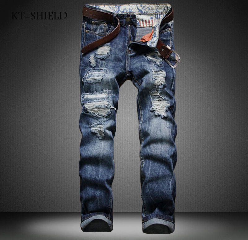 Brand New Men jeans Ripped elastic jeans denim runway distressed Biker vaqueros hombre slim fit fashion Hip Hop Casual trousers 2017 fashion patch jeans men slim straight denim jeans ripped trousers new famous brand biker jeans logo mens zipper jeans 604