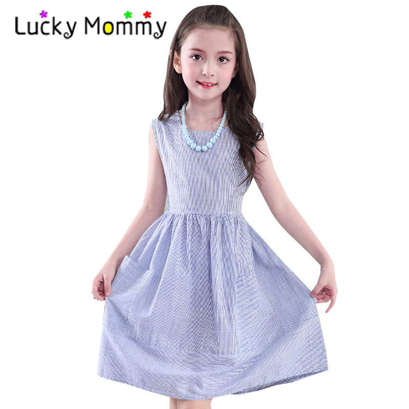 Sleeveless Stripes Girls Dress Summer Kids Dress Casual Children Clothes for Girls Age 6 7 8 9 10 11 12 13 14 15 Baby Clothing baby girls party dress 2017 wedding sleeveless teens girl dresses kids clothes children dress for 5 6 7 8 9 10 11 12 13 14 years