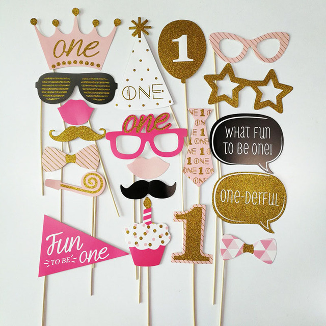 Photo Booth Birthday Decoration First Boy Girl Party Photobooth Props 1st Unicorn Parties Deco Anniversaire