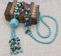 Diseñador unique declaración étnico turquesa cuentas de concha collares largos de moda del partido de custome de largo de la joyería para mujeres que envían libremente