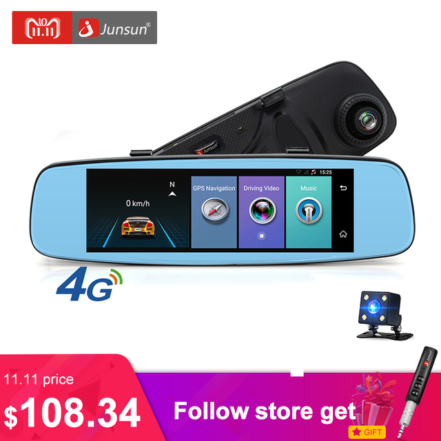 """Junsun A880 4 г ADAS Автомобильный видеорегистратор Камера видеомагнитофон зеркало 7.86 """"Android 5.1 с двумя камерами видеорегистратор Регистратор черный ящик 16 ГБ"""