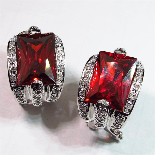 The new product Shinning Noble Generous Silver Plated Favourite Hot Recommend Red Cubic Zirconia earring jewelry Earrings R453