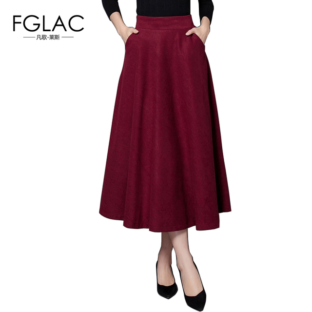 cd7c381c11 FGLAC New 2016 Winter Thick Woolen skirts Fashion High waist Slim Belt  Office Long Midi Skirt