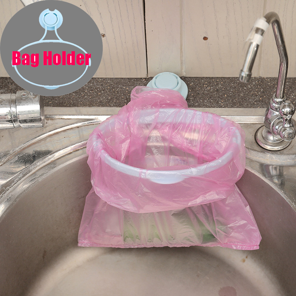 1PC Kitchen Shelf Trash Rack Storage Garbage Bag Holder Hanging Kitchen Cabinets Storage Double Suction Cup Garbage Rack Clip