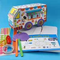 Child Toy Crafts Kids DIY Assembled 3D Stereoscopic Car Model Toy School Bus Cardboard Car Montessori Education Toys