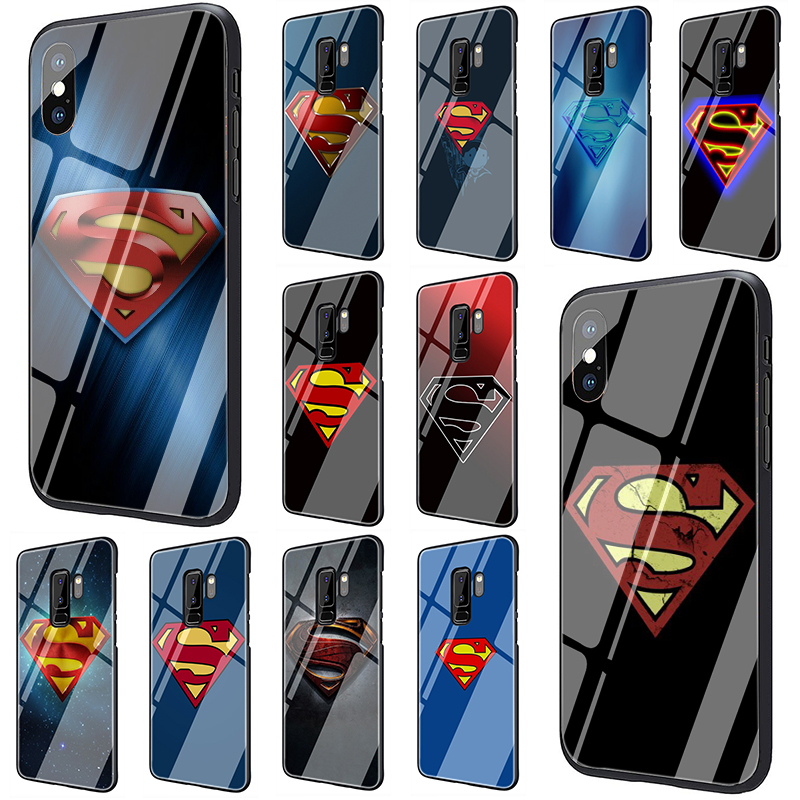 Superman S <font><b>Logo</b></font> <font><b>Marvel</b></font> Tempered Glass phone <font><b>case</b></font> for <font><b>Samsung</b></font> <font><b>Galaxy</b></font> S7 Edge S8 S9 S10 Plus Note 8 9 A10 A20 <font><b>A30</b></font> A40 A50 A60 A70 image
