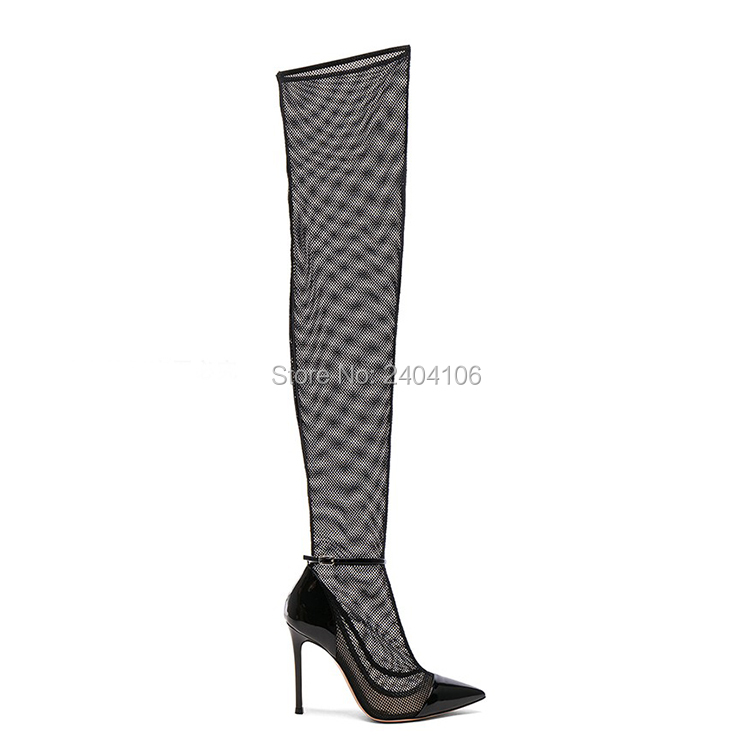 Plus Size 41-43 Ladies Summer Shoes Pointed Toe Sexy Thin High Heels Gladiator Long Sandalias Ankle Buckle Mesh Thigh High Boots