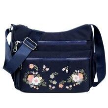 Kleine Nylon Schoudertas Bloem Borduren Vrouwen Messenger Bag Hoge Kwaliteit Crossbody Tassen Vrouwelijke Lady Luxe Designer Handtas