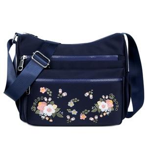 Image 1 - 작은 나일론 숄더 가방 꽃 자 수 여성 메신저 가방 고품질 crossbody 가방 여성 숙 녀 럭셔리 디자이너 핸드백