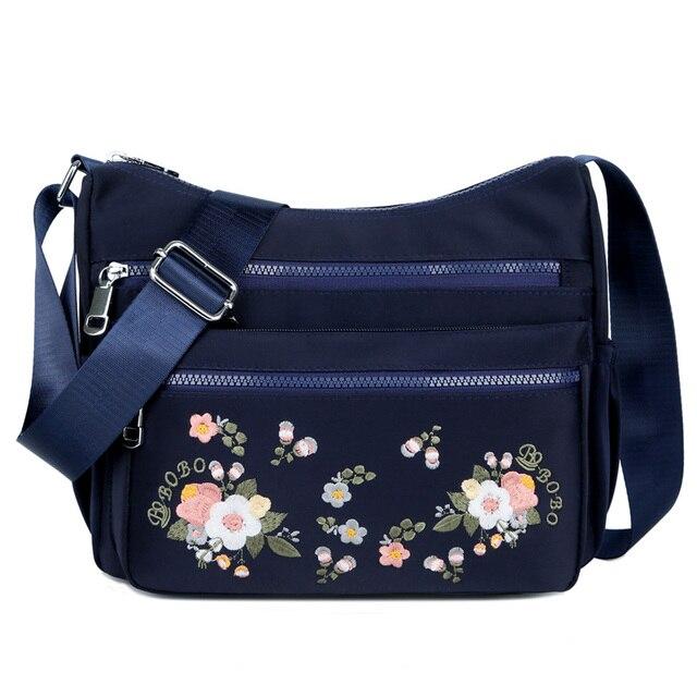 작은 나일론 숄더 가방 꽃 자 수 여성 메신저 가방 고품질 crossbody 가방 여성 숙 녀 럭셔리 디자이너 핸드백