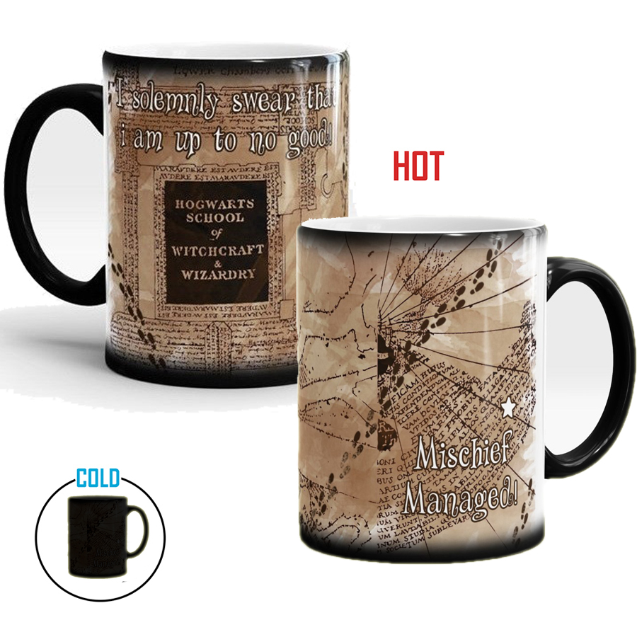 Hogwarts School Of Witchcraft And Wizardry Mischief Managed Marauders Map Color Changing Mugs Heat Reveal Coffee Milk Tea Cup