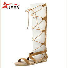 3mma Brand 2016 Sexy Summer Thigh High Gladiator Sandals Open Toe Flat With Boots Leather Black Casual Shoes Woman Bota Feminina