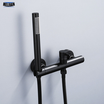 Torneira do chuveiro preto & chrome banheiro simples handheld cabeça de chuveiro fixado na parede misturador água quente e fria