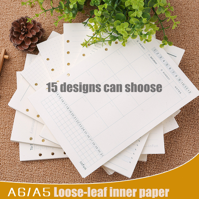 Stationery factory directly A5 / A6 loose-leaf notebook core notepad pages customized refill inner paper 100 papers/pc commission customized notebook a5 sketchbook handbook personalized stationery gift photo image logo on the cover