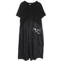 LANMREM 2019 новинка моды летнего сезона, женская одежда Круглый воротник пуловерные платья в стиле пэчворк Асимметричные свободные vestido WG51301