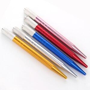 Image 5 - 50pcs Microblading Penna Tatoo Sopracciglio Permanente di Trucco A Mano Strumenti di Microblading Del Supporto In Acciaio Inox Fatto A Mano Penna Del Tatuaggio Manuale