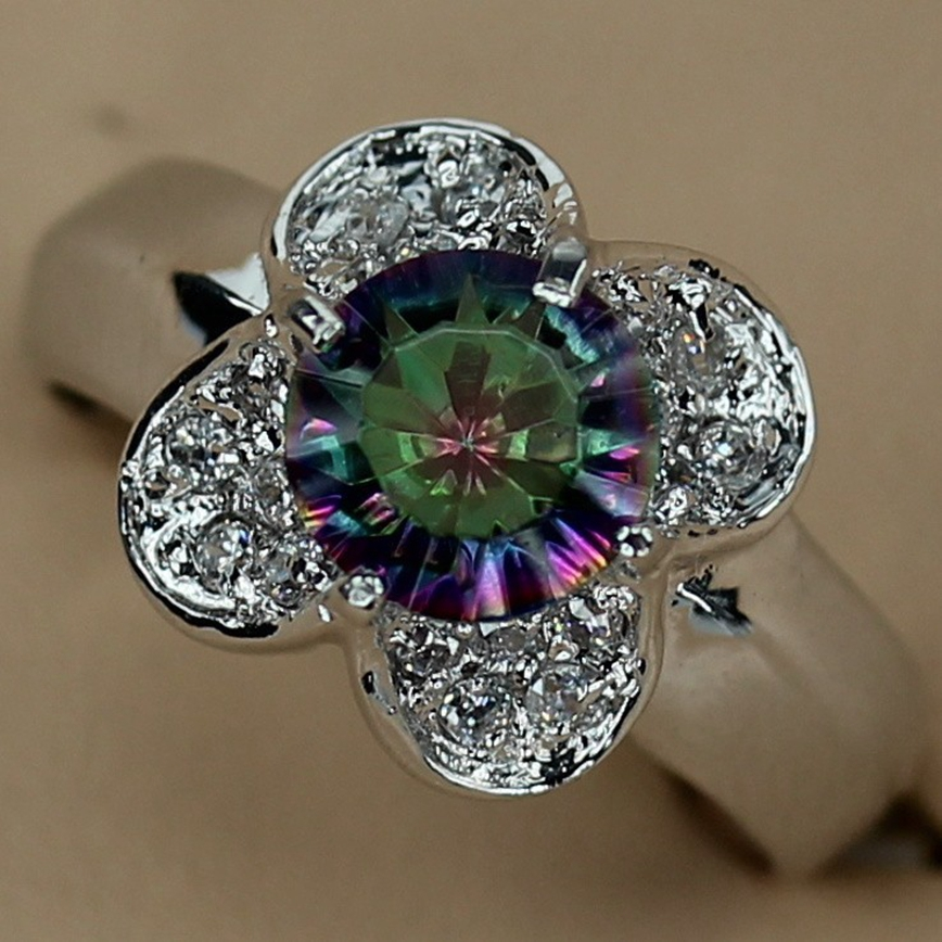 Fleure Esme Romantic Silver Plated Ring Rainbow and white Cubic Zirconia Wholesale Jewelry R765 sz#6 7 8 9 Promotion Favourite