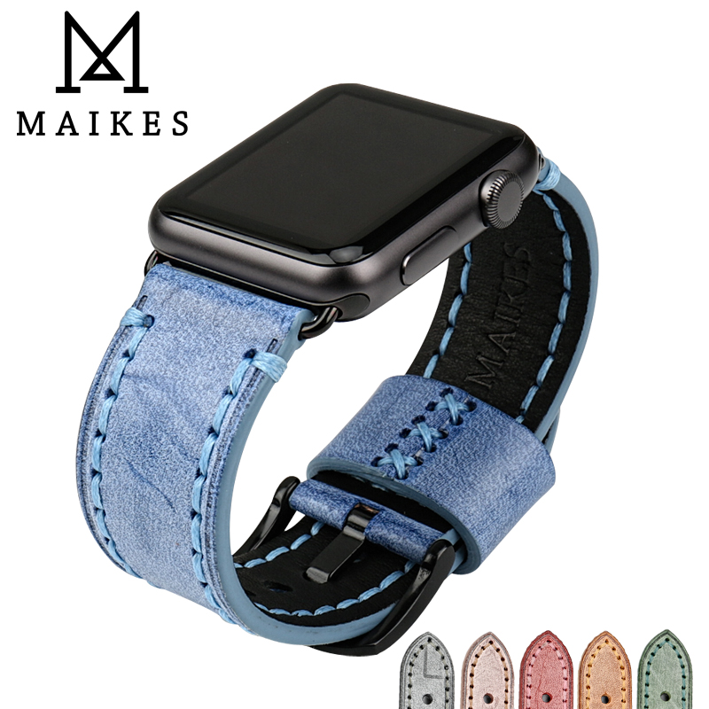 Blue Genuine Leather Crocodile Strap Band For Apple Watch 38mm 40mm 42mm 44mm The Latest Fashion Jewelry & Watches Smart Watches