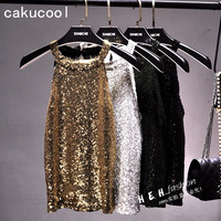 Cakucool Women Bead Tank Tops Shiny Sequin Vest Slim Bling Party Camis Halter Neck Gold Thread