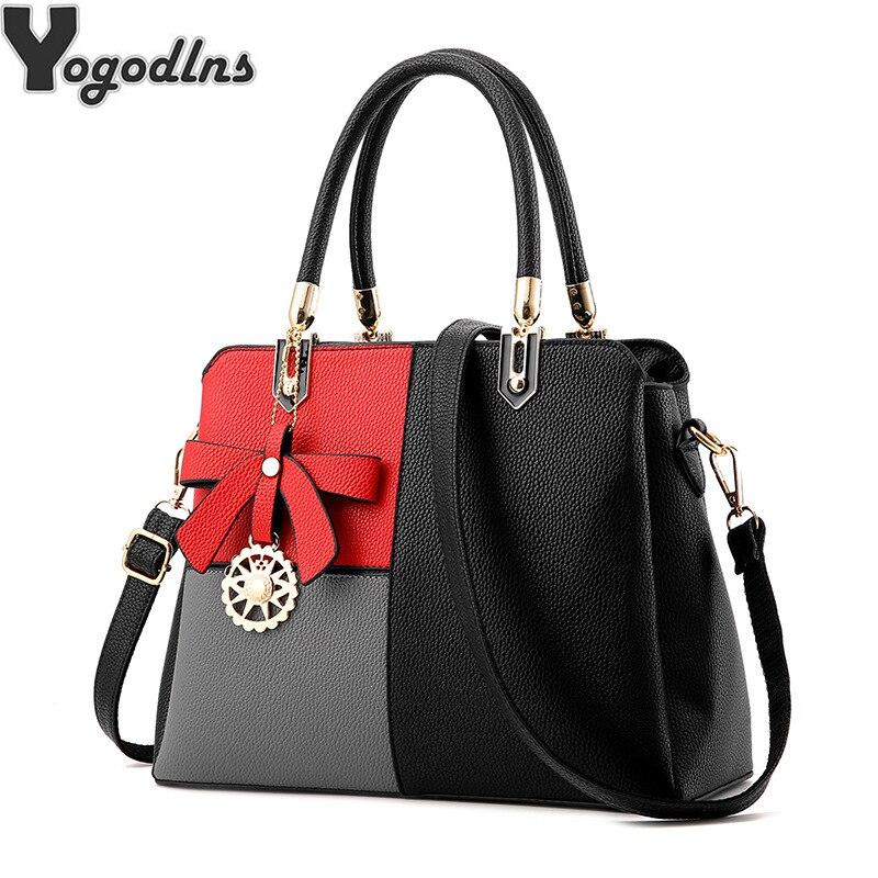 e8f59a0d144d Винтажная женская сумка на плечо, цветная кожаная женская сумка с ручкой  сверху, сумка через плечо с бантом, простая стильная сумка