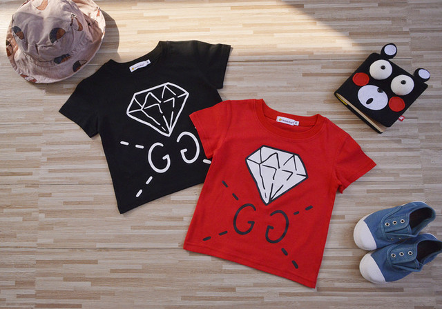 newest 2017 family cotton T-shirts diamond print baby boys girls summer short sleeve Tops black & red colors soft