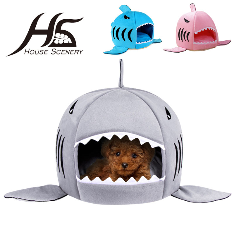 House Scenery 2016 New Pet Products Warm Soft Dog House Pet Sleeping Bag Shark Dog Kennel Cat Bed Cat House Warm Cushion