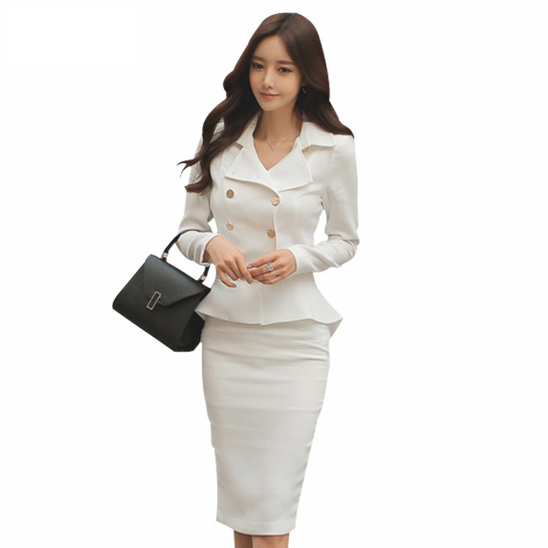 Qiqi-2-Piece-Set-Women-2016-Winter-White-black-double-breasted-Business-Flouncing-Slim-Crop-Top
