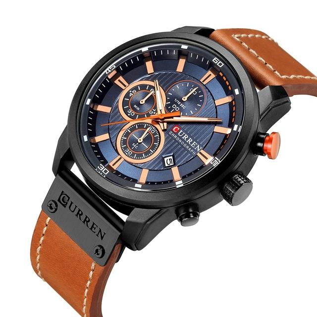CURREN New Watches Men Luxury Brand Chronograph Men Sport Watches High Quality Leather Strap Quartz Wristwatch Relogio Masculin