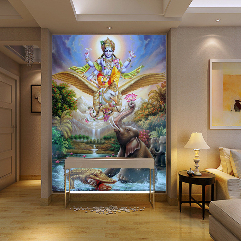 Beibehang papel de parede large mural yoga southeast asian for Asian wallpaper mural