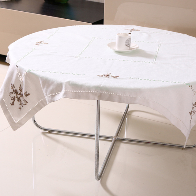 Embroidery Flowers White Tablecloth – Linen Cotton