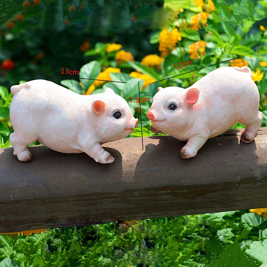 2pcs mini high quality cute pink pig animal ornaments available for home gardening decoration and home decoration  1