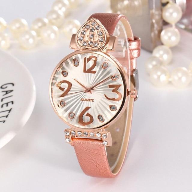Ladies Wristwatch 2018 Crystal Rhinestone Bracelet Watch Women Casual Clock Leat