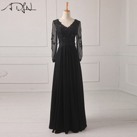 Elegant Black Evening Dress With Long Sleeves Appliqued Chiffon Prom Dress 2016 Long Formal Party Dress
