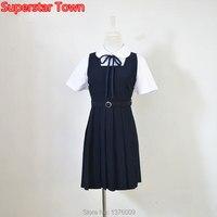 Японские школьницы Форма платье JK Лолита плиссированные матрос платье женщина платье на бретелях Аниме Костюм Бесплатная доставка только ...