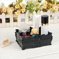 Make Up Storage Box Korea Retro Rose Butterfly Rectangular Storage Case Cosmetic Carved Dressing Boxes Free