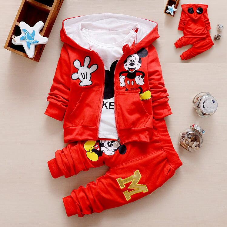 2017 New Chidren Kids Boys Clothing Set thicken Winter 3 Piece Sets Hooded Coat Suits Fall Cotton Mickey Baby Boys Clothes 1-5Y