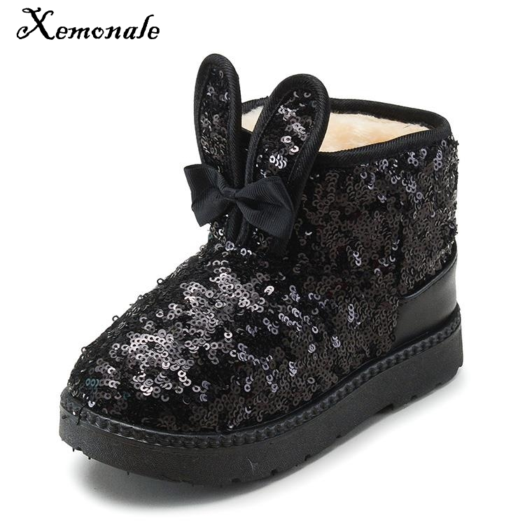 Xemonale Kids Boots 2018 Winter Fashion Sequin Bling Bling Snow Boots Girls Shoes Princess Bow Bunny Baby Warm Plush Girls Boots