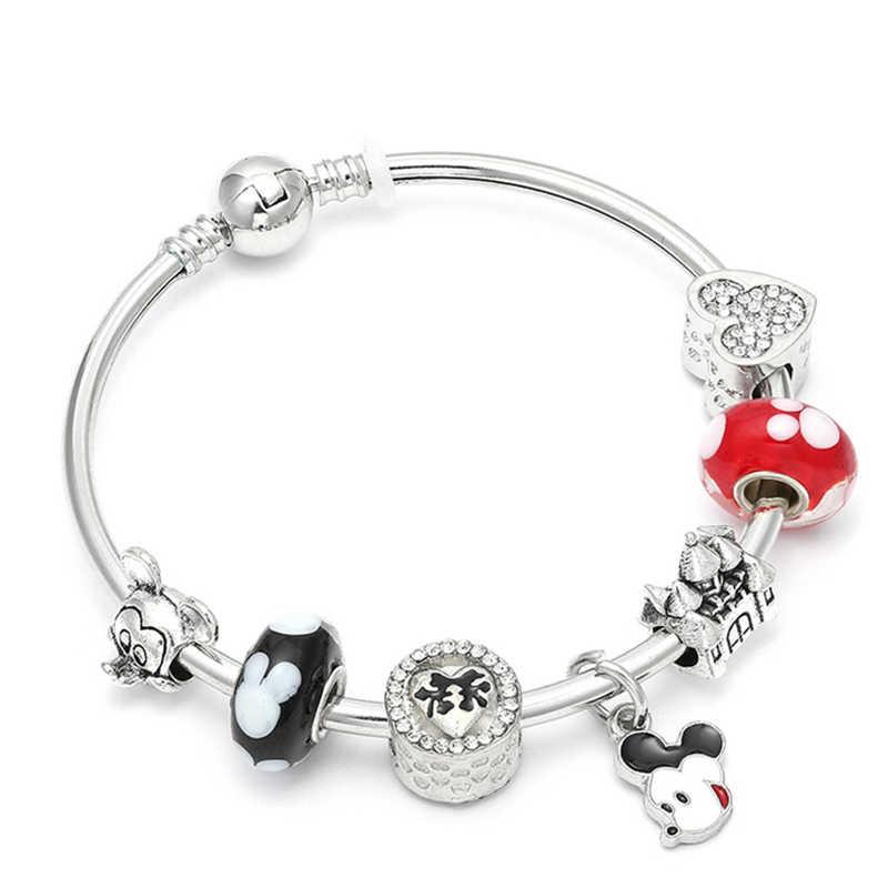 71fdab7b3 HOMOD Hot Sale Mickey Beads Charm Bracelets & Bangles With Minnie Mouse  Pendant Fits Pandora Bracelet