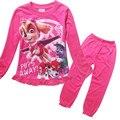 2016 Novo de Algodão Princesa Meninas Longas Crianças Manga Pijamas Homewears Patrulha Dos Desenhos Animados T-Shirt + Calças Conjuntos de Roupas Pijamas PJS