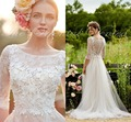 Robe de Mariage 2017 Bohemian Lace Wedding Dress with Sleeves 3D-Floral Appliques Beach Wedding Gowns Cheap Boho Bridal Dresses