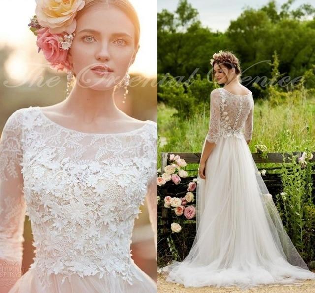 Robe de Mariage 2017 Bohemian Lace Wedding Dress with Sleeves 3D-Floral Appliques Beach Wedding Gowns Cheap Boho Bridal Dresses
