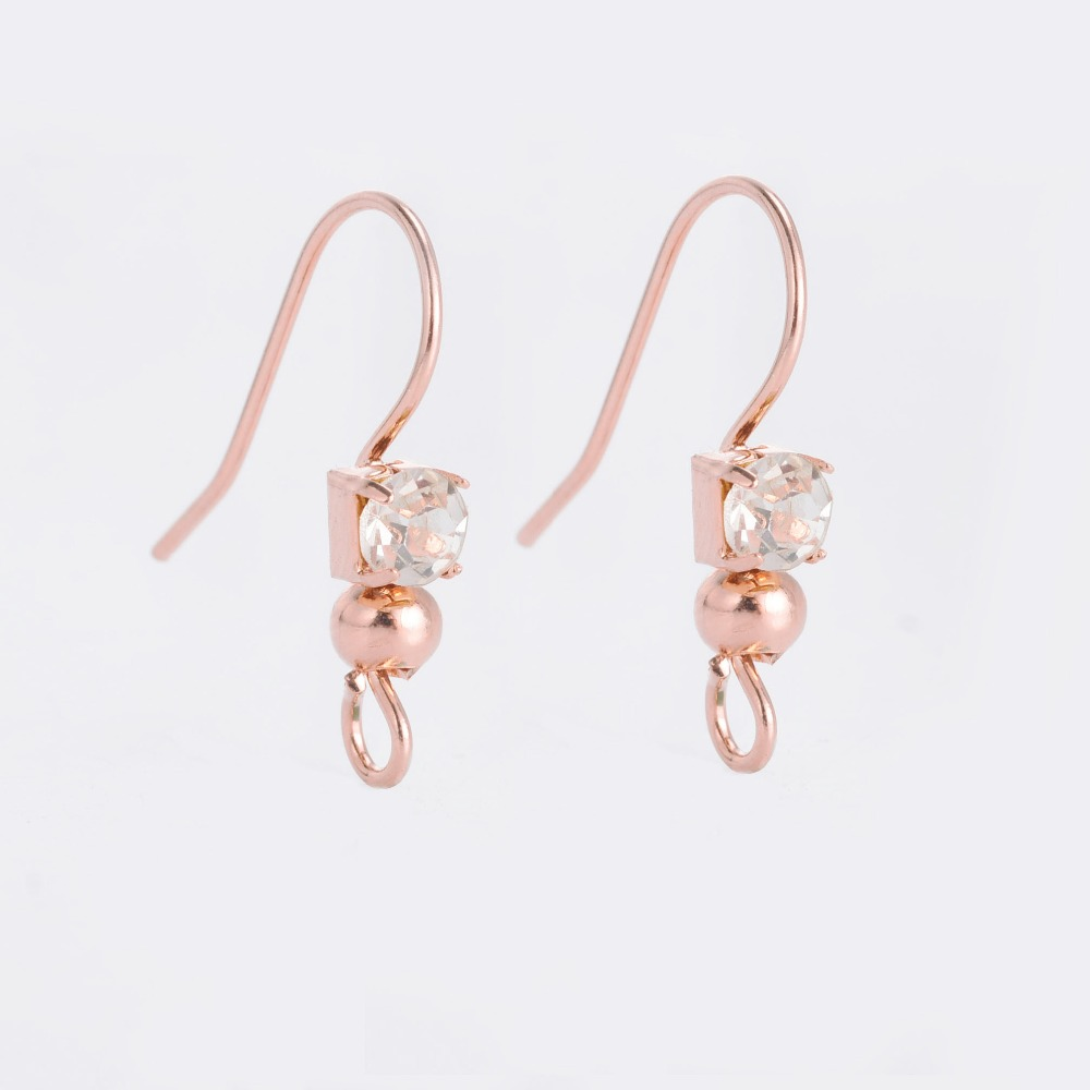 19mm Rose Gold Color CZ Zircon Ear Wire Hook Earrings Findings For